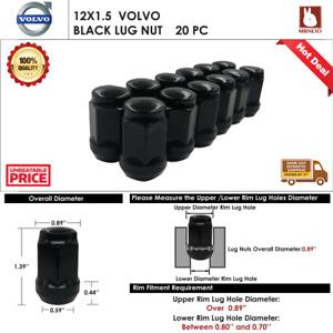 20PC VOLVO C30/C70/S40/V50 12X1.5 BLACK  ACORN WHEEL LUG NUT