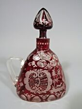 Fine Bohemia Red Glass Bottle w/ Stopper Decorated w/ Stags in Forest ca. 19th c