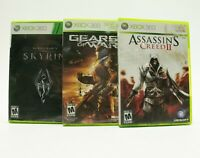 Xbox 360 Lot: Assassins Creed II Gears of War The Elder Scrolls V Skyrim