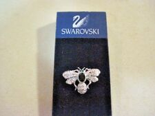 Swarovski Swan Bee w/ Green Eyes &  Black Crystal Tack Tac Lapel Pin New on Card