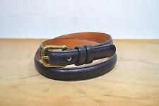 """Coach Black Leather Skinny Belt w/ Brass Buckle, Wm's 28"""""""