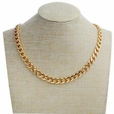 Gold Necklace for Men, Feel Real Solid 18k Gold Plated Curb Fake Chain