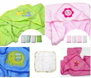 Baby Hooded Bath Towels Set 1 x Luxury Towel 4 x Napkins Cloths Set Shower Gift