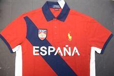 NWT Polo Ralph Lauren Men's Big Pony Custom Fit ESPANA Spain Polo Shirt FIFA XL