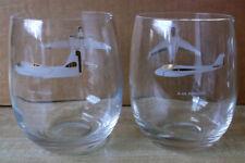 Vintage *GRUMMAN* Aviation Plane Set Of 8 Glasses Barware Etched White Gold