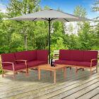 7pcs Patio Outdoor Furniture Set Garden Acacia Wood Sofa Chair Set With Cushion