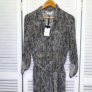 BNWT $150 Table Eight Jumpsuit 14 Black White Collared Waist Tie Snakeskin Print