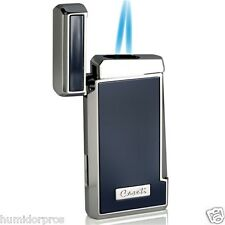 Caseti Thin Dual Flame Torch Jet Flame Butane Cigar Lighter Blue Lacquer