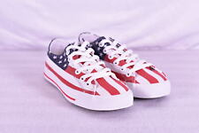 Unisex Row One U.S.A American Flag Low Top Shoes, Red / White / Blue
