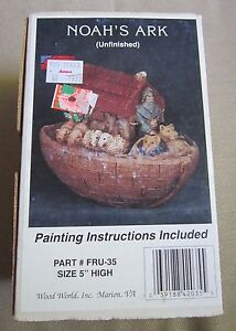 Vintage Wood World Paintable Noahs Ark Unfinished Ceramic Bisque USA 5 Inches