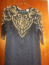 1980s NIGHT VOGUE XL Black Gold Silk Sequin Evening Gown DOWNTON ABBEY STYLE