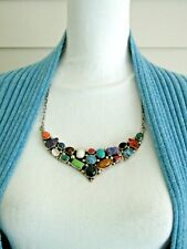"Navajo Emer Thompson Sterling Silver Turquoise & Multi Gemstone 22"" Necklace"