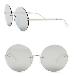 100% Genuine Karen Walker Sunglasses Disco Circus 1701572 Round Sliver Mirror