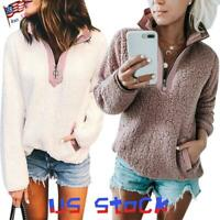 Women's Plush Tops Half Zip Color Block Neck Sweater Pullover Fluffy Hoodies US