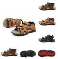 Men's Outdoor Hiking Sandals Fisherman Strap Open Toe Casual Flat Leather Shoes