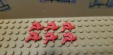 Lego Castle Minifigure Red Plume Helmet Accessory '' Triple Feather '' Lot of 6