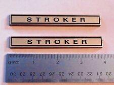 "STROKER  4"" wide  black plastic with Chrome   emblem emblems badge new pair"