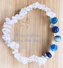 Crystal Natural Clear Quartz ChipStone Blue Agate Beads Stretchy Bracelet