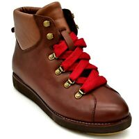 Bionica Womens Natick Leather Lace Up Ankle Boots US Size 8M Caramello Brown New
