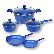 8pc Non-stick Cookware Set, Blue Stone, Frypan, Saucepan, Casserole, Induction