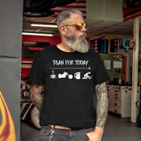 Plan For Today Coffee Bike Biker Beer Funny Men T Shirt Cotton S-5XL Black