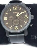 Fossil JR1356 Mens Black Leather Dial Analog Quartz Genuine Watch Pre-Owned Bb26