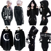 Black Womens Gothic Punk Hoodie Sweatshirt Hooded Sweater Jacket Coat Outwear