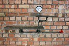 Industrial Pipe Floating Wall Shelf Vintage Bookcase Organiser Water Tap Meter