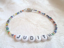"""7"""" PERSONALIZED BEADED NAME BRACELET WITH THE NAME Judith-Handmade-New"""