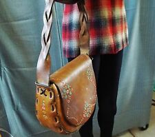 Vintage 1960's Hand Tooled Braided LEATHER Handbag Purse Hippie BoHo