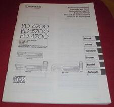 bedienungsanleitung heft pioneer PD 6700 / 5700 / 4700 compact disc spieler 1991