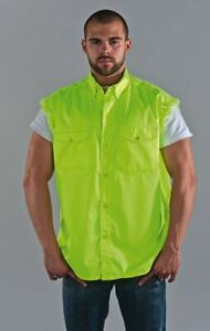 Men's Motorcycle Fluorescent Sleeveless Shirt with Buttoned Front Closure