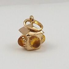18K Yellow Gold 3D Bauble Yellow Stop Light Lantern Charm Pendant 1.7 gr