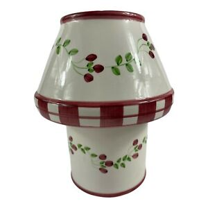 Pearsons Pastimes Candle Topper and Bottom White With Mauve Berries