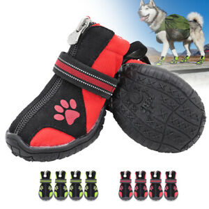 4pcs Winter Boots for Dogs No Slip Dog Hiking Shoes Water Resistant Reflective