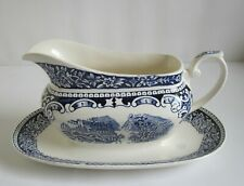 Myott Cambridge Old England Gravy Boat and Stand (one piece).