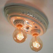 Vintage Restored Porcelain Flush Mount Ceiling Light Fixture