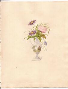 c1830-60 FLOWERS IN PORCELAIN VASE VICTORIAN ORIGINAL EXQUISITE WATERCOLOUR