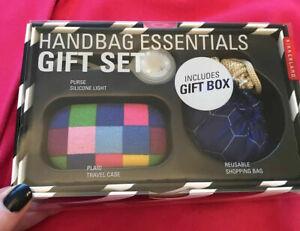 Handbag Essentials Gift Set Reusable Bag Purse Light & Travel Case New