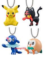 Bandai Pokemon Sun & Moon Figure Keychain Pikachu Litten Popplio Rowlet 4 pcs
