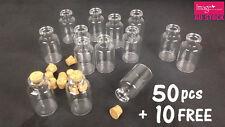 50 10 Mini Clear Tiny Glass Bottle 5.5cm (h) Vials Jar Cork Stopper Craft DIY YW