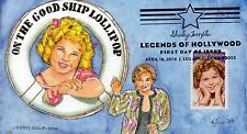 SHIRLEY TEMPLE ~ LEGEND OF HOLLYWOOD STAMP ~ DORIS GOLD CACHET ~ FIRST DAY COVER