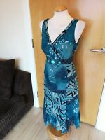 Ladies PER UNA Dress Size 14 Long Tall Blue Teal Beaded Smart Party Evening