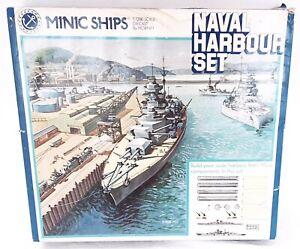 Triang Tri-ang MINIC SHIPS 1:1200 MILITARY NAVAL BATTLE SHIP HARBOUR SET MIB`60!