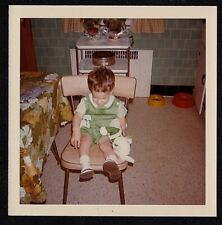 Vintage Photograph Little Baby Sitting on Chair With Toy