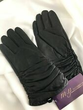 Womens Ruched / Longer Length Soft  Leather Gloves, Lined, Black, MEDIUM 8.5 NEW
