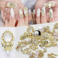 Gold 3D Nail Art Metal Sticker Decoration Tips DIY Slices Accessories Manicure