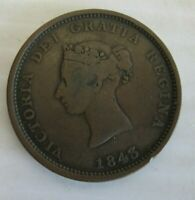 NEW BRUNSWICK 1843 ONE PENNY TOKEN --- RARE COIN