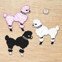 Iron On 50' Poodle Patches, Large Embroidered Poodle Appliques, 3 Colors (429)