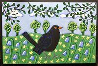 Original Painting Blackbird In Bluebells and leaves, Folk/naive Art, Bird